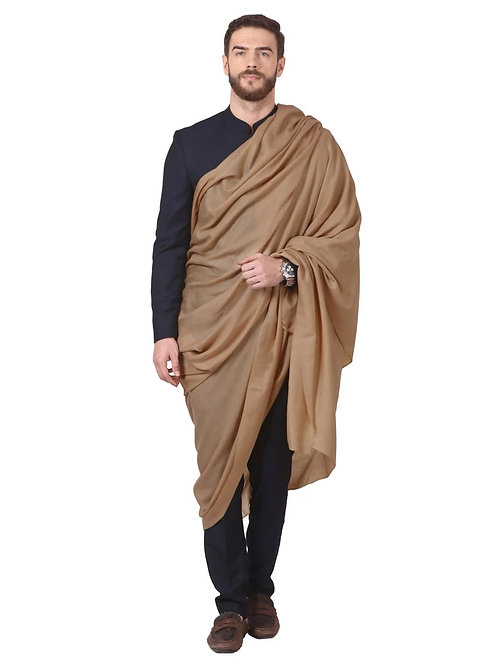 MENS SUPER FINE RING SHAWL, FULL SIZE 54X108 INCHES - TAUPE