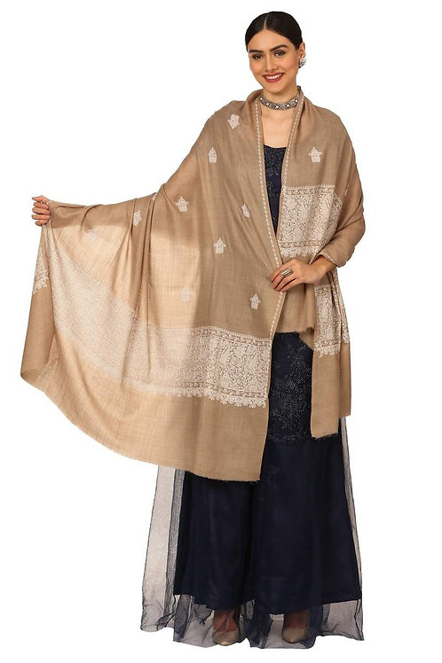 WOMENS, EXTRA FINE PALLA EMBROIDERY SHAWL, WITH TONE ON TONE NEEDLEWORK, KASHMIR