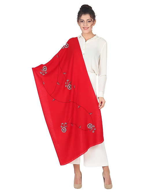 Red 100% Cashmere Pashmina Stole with White Beaded Flower Hand Embroidery Design
