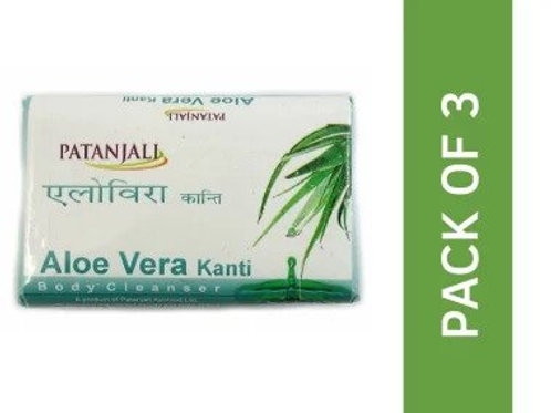 Patanjali Ayurveda Aloe Vera Kanti Body Cleanser Soap Pack of 3, 150gms each