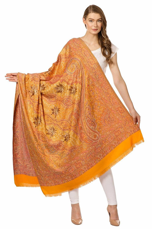 WOMENS JAMAWAR SHAWL WITH HAND AARI EMBROIDERY, SILKY THREADWORK