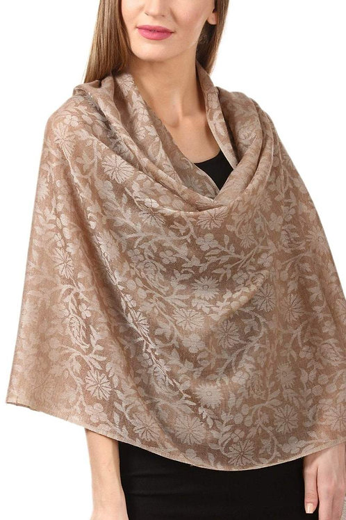 WOMEN'S WOOL SELF REVERSIBLE SCARF FLORAL JACQUARD DESIGN, SILK-PASHMINA