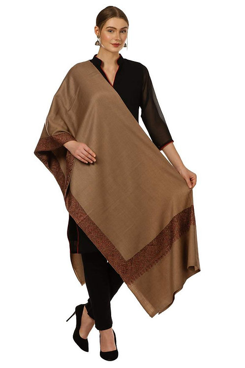 WOMENS KASHMIRI HAND EMBROIDERY SHAWL, BORDER DESIGN, 100% PURE WOOL SHAWLS