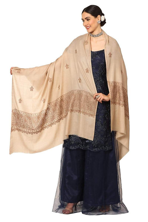 WOMENS, EXTRA FINE PALLA EMBROIDERY SHAWL, WITH TONE ON TONE NEEDLEWORK,