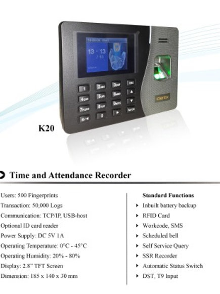 K-20  with Battery Backup, Access Control
