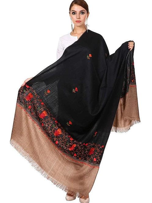 WOMENS KASHMIRI WOOL SHAWL WITH 100% HAND EMBROIDERY, AARI SILKEN THREAD WORK