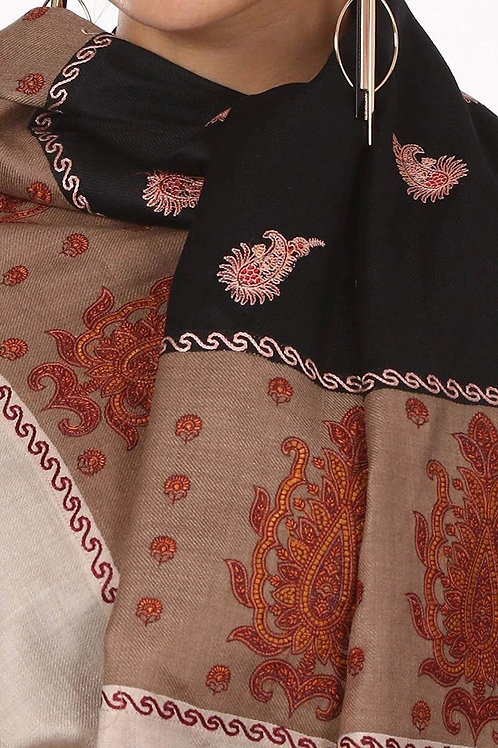 WOMEN'S KASHMIRI EMBROIDERY WOOL SHAWL, HAND EMBROIDERY SHAWL WITH STITCHED CONT