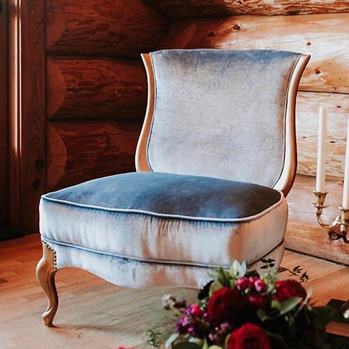Ice blue velvet armless chair with gold accents (Phoebe)