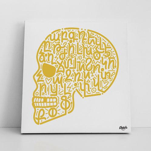 Skull Alphabet Doodle - Canvas Print (14x14)