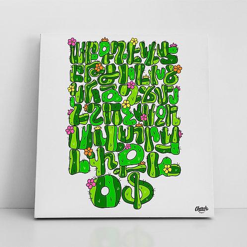 Cactus Alphabet - Canvas Print (14x14)