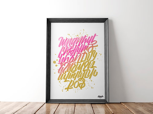 Pink & Gold Alphabet - Art Print (18x24)