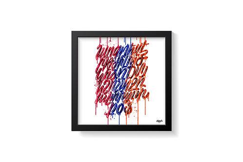 SUPPORT ARTSAKH - Drip Alphabet Tricolor - Art Print (12x12)