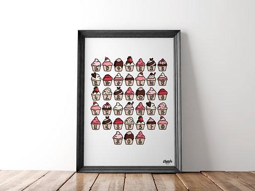 Cupcake Alphabet - Art Print (18x24)