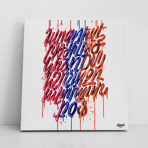 Drip Alphabet Tricolor - Canvas Print (14x14)