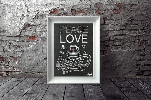 Peace, Love & Soorj (coffee) - Chalkboard Print (18x24)