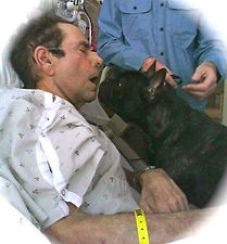 Triple B Foundation for Pet Therapy French bulldog Blake provides a last visit to a hospice patient