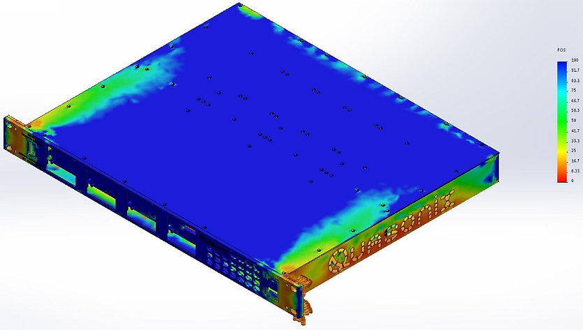 Factor of safety simulation FEA rack mount enclousure