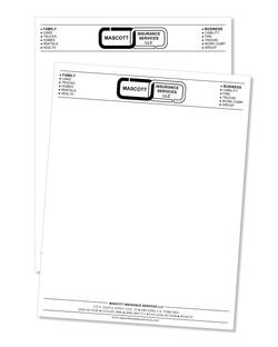 Letterhead 70lb Offset smooth printed 1 color black ink 1 side