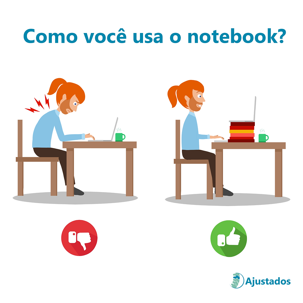 postura ao usar notebook