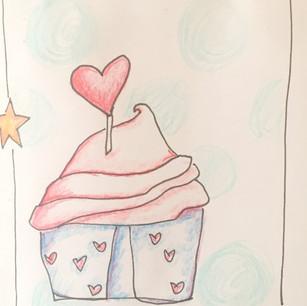 Computer paper cupcake card