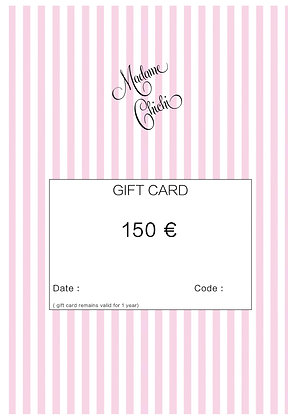 Gift card 150 € ( e-mail)
