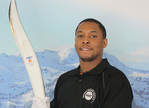 Clavia with the 2010 Winter games Olympic torch.
