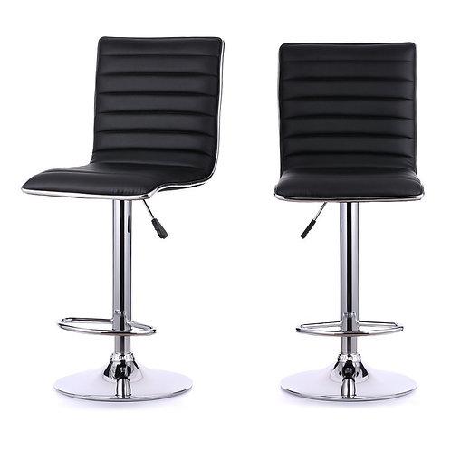 Black adjustable height stools