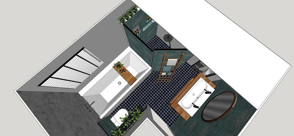3D bathroom render sketch drawing floorplan of a new bathroom design with shower, bath and double basins.
