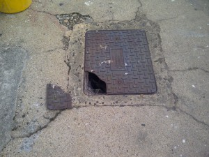 Broken manhole lid replacement - Lancashire