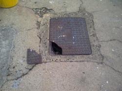 Broken manhole lid replacement - Lancashire