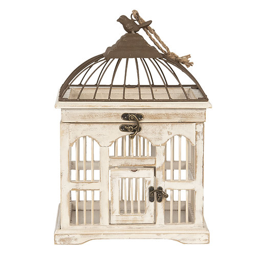 volière à oiseau blanche en bois et métal