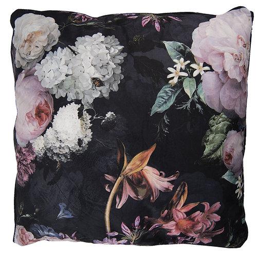 Coussin en velours à fleurs