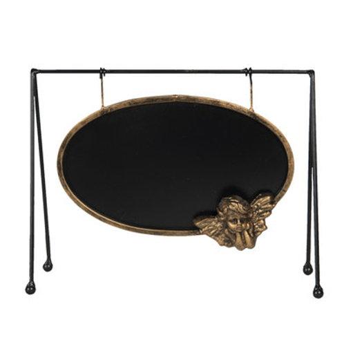Tableau noir ovale avec angelet doré