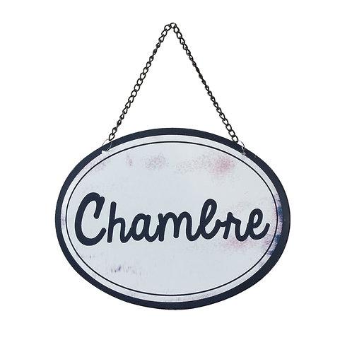 """Plaque décorative métal """"chambre"""""""