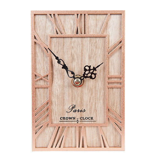 Horloge en bois et métal, murale ou à poser