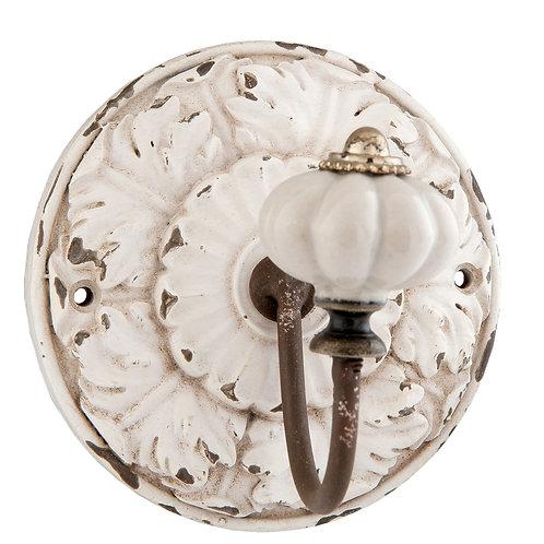 Patère rosace avec crochet en porcelaine
