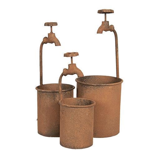 """cache pot de fleur métal rouille """"robinet"""""""