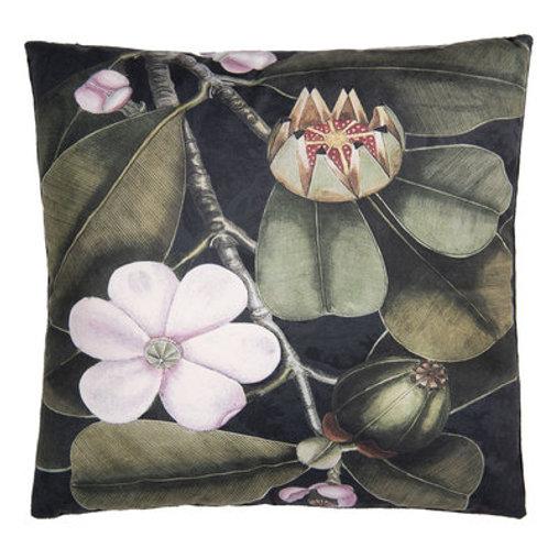 Coussin velours art déco à fleurs