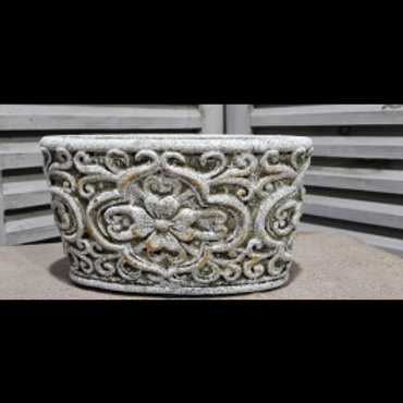 pot de fleur baroque, de couleur vieille pierre, patine antique