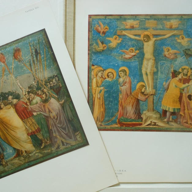 Italian binder with 18 frameable prints from the Scrovegni Chapel in Padua, Italy, by Giotto.