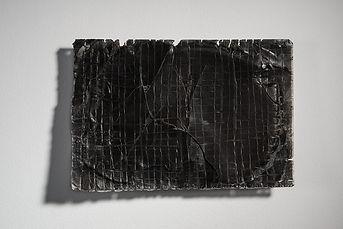Plus|Minus|Black|white    Singed silk paper, waxes, pigment  21*29 cm