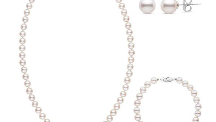 18in AAA White Freshwater Pearl 3pc. Set