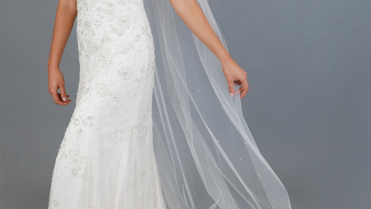 """90"""" Chapel Length Cut Edge Ivory Bridal Veil with Scattered Pearls & Crystals"""