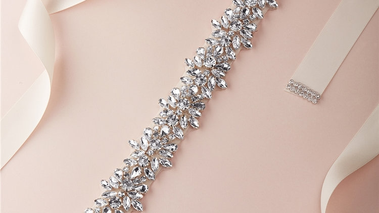 Dazzling Crystal Bridal Belt with Jeweled Clusters & Ivory Ribbon