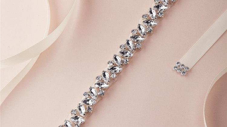 Slender Silver Bridal Belt with Austrian Crystals & Ivory Ribbon