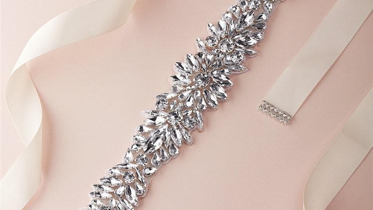 Silver Bridal Belt with Austrian Crystal Sunbursts on Ivory Ribbon