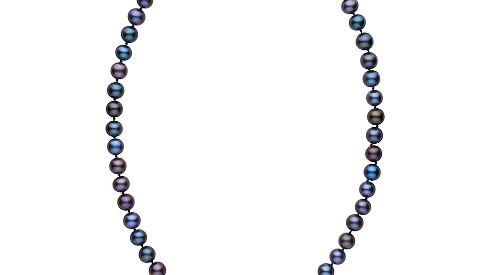 18 Inch AA+ Black Freshwater Pearl Necklace