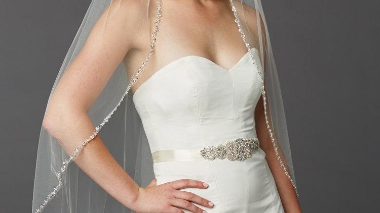 Glistening Silver Beaded Edge Long Fingertip Wedding Veil