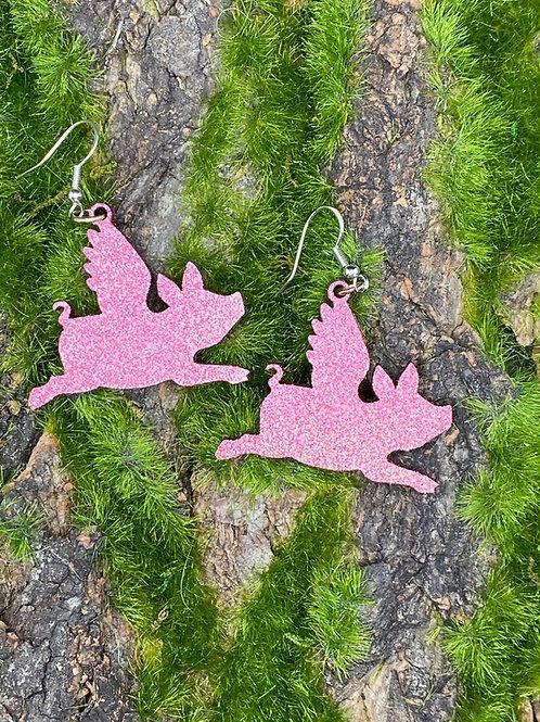 Pink Glitter Flying Pig