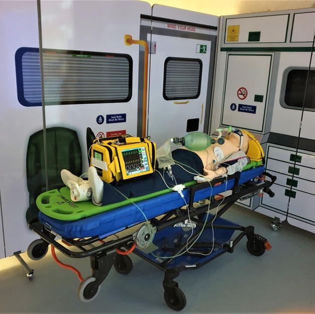 Our ambulance mock up. This can be used with the immersion suite to simmulate care during transport.